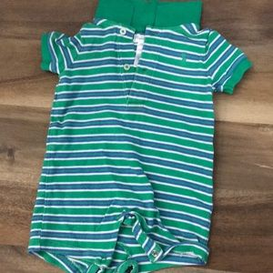 Ralph Lauren green and blue striped polo onesie